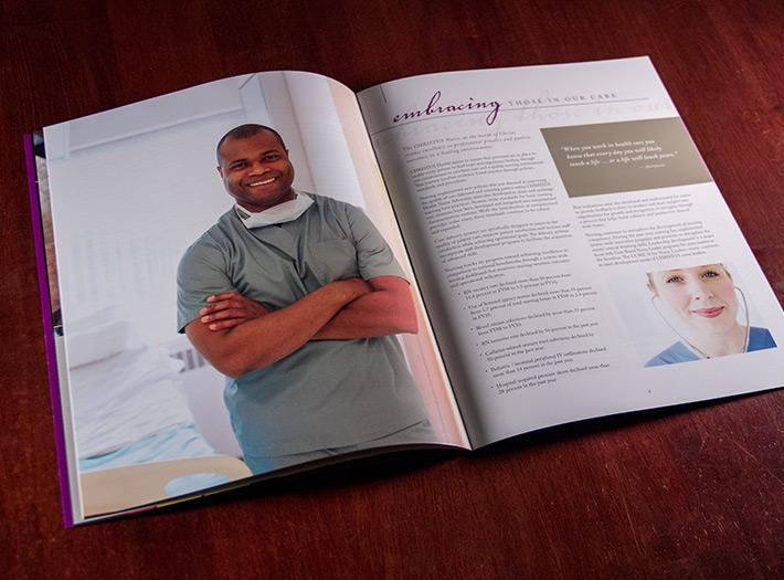 print, annual report, spread